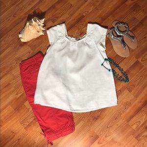 J. Jill White Short Sleeve 100% Linen Top, Size S